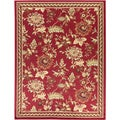 Dark Red Floral Design Area Rug (3'11 x 5'3)