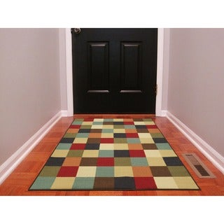 Multicolored Checkered Design Non-skid Area Rug (3'3 x 5')