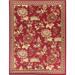 Dark Red Floral Design Area Rug (7'10 x 9'10)