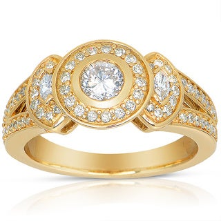 14k Yellow Gold 3/4ct TDW Round Bezel Diamond Ring (J-K, I1-I2)