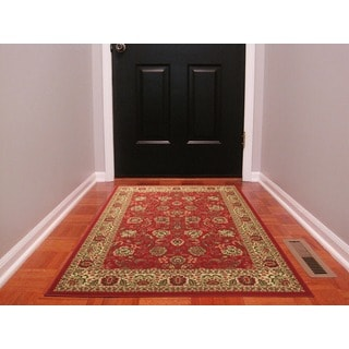 Dark Red Traditional Oriental Design Non-skid Area Rug (3'3 x 5'0)