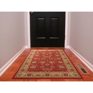 Dark Red Traditional Oriental Design Non-skid Area Rug (3'3 x 5'0)