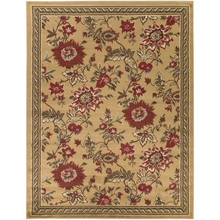 Beige Contemporary Floral Area Rug (5'3 x 7')