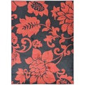 Black and Red Floral Area Rug (5'3 x 7')