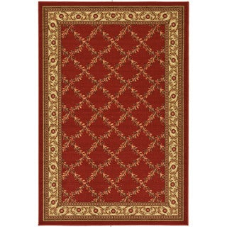 Dark Red Floral Trellis Non-skid Area Rug (5' x 6'6)
