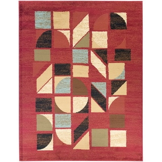 Dark Red Abstract Area Rug (5'3 x 7')