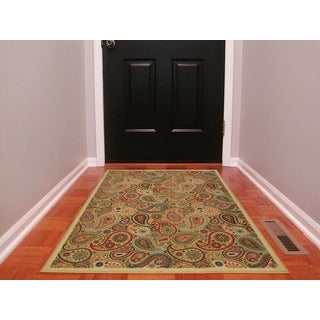 Beige Contemporary Paisley Design Non-skid Area Rug (3'3 x 5'0)