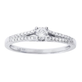 14K White Gold 1/2 ct TDW Round Diamond Engagement Ring (H-I, I1-I2)