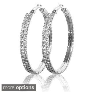 Silvertone or Goldtone Crystal Double-row Hoop Earrings