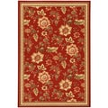 Dark Red Floral Garden Design Non-skid Area Rug (3'3 x 5')