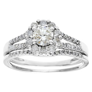 14k White Gold 1ct TDW Round Diamond Bridal Set (G-H, I1-I2)