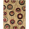 Contemporary Abstract Design Beige Rug (7'10 x 9'10)