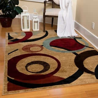 Contemporary Abstract Circle Design Beige and Red Area Rug (7'10 x 9'10)