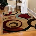 Ottomanson Contemporary Abstract Circle Design Beige and Red Area Rug (7'10 x 9'10)