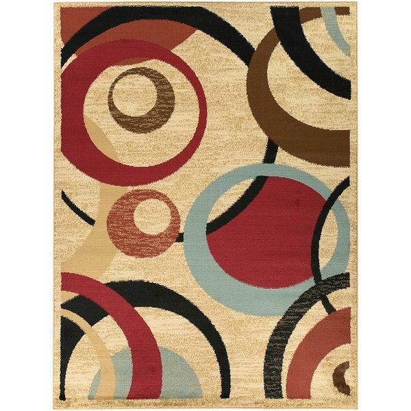 Beige Contemporary Abstract Design Area Rug 5 3 X 7 0