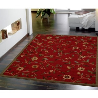 Dark Red Floral Garden Design Non-skid Area Rug (5' x 6'6)