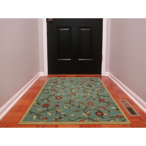 Ottomanson Ottohome Collection Floral Garden Design Modern Sage Green Area Rug with Non-skid Rubber Backing (3' x 5') 12032108