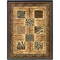 Contemporary Animal Patchwork Design Area Rug (5'3 X 7'0)