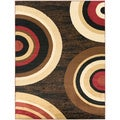 Contemporary Circles Design Area Rug (5'3 X 7'0)