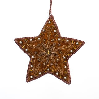 Handcrafted Big Brown Beaded Velvet Star Ornament (India)