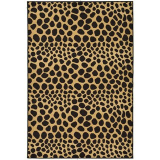 Black/ Beige Animal Print Leopard Design Non-skid Area Rug (3'3 x 5')