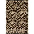 Black/ Beige Animal Print Leopard Design Non-skid Area Rug (3'3 x 5')