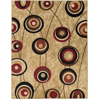 Contemporary Abstract Design Beige Rug (5'3 x 7')