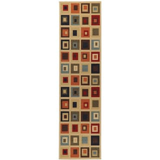 Beige Contemporary Boxes Design Non-skid Runner Rug (1'8 x 4'11)