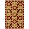 Dark Red Contemporary Circles Design Non-skid Area Rug (3'3 x 5')