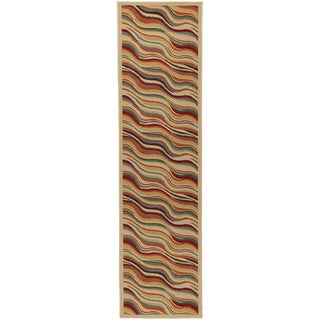 Beige Contemporary Weaves Design Non-skid Runner Rug (1'8 x 4'11)