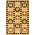 Chocolate Contemporary Circles Design Non-skid Area Rug (3'3 x 5')