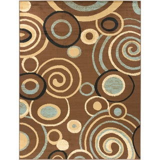 Contemporary Scrolls Design Brown Rug (5'3 x 7')