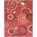 Contemporary Scrolls Design Dark Red Rug (5'3 x 7')