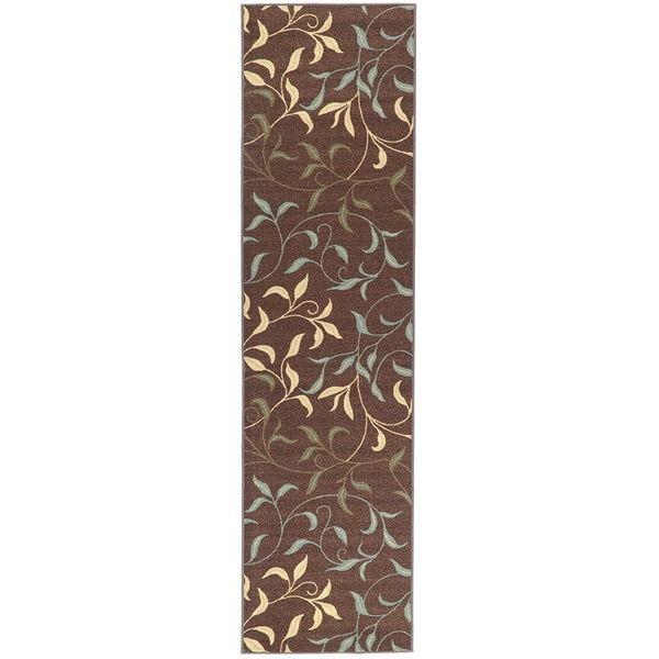 Rug Runners Contemporary: Ottomanson Chocolate Contemporary Leaves Design Non-skid