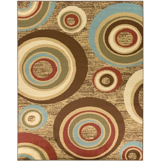 Beige/ Brown Contemporary Abstract Circle Design Area Rug (7'10 x 9'10)