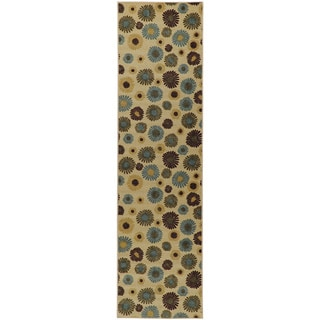 Beige Contemporary Sunflowers Design Non-skid Runner Rug (1'10 x 7')
