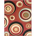Contemporary Abstract Design Dark Red Rug (5'3 x 7')