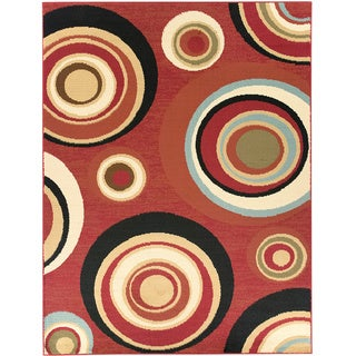 Dark Red Abstract Circle Design Area Rug (7'10 x 9'10)