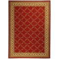 Dark Red Floral Trellis Design Non-skid Area Rug (3'3 x 5')