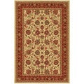 Beige Traditional Floral Design Non-skid Area Rug (5' x 6'6)