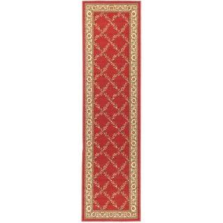 Dark Red Floral Trellis Design Non-skid Runner Rug (1'8 x 4'11)
