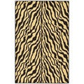 Black/ Beige Animal Print Zebra Design Non-skid Area Rug (3'3 x 5')