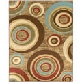 Beige/ Brown Abstract Circle Design Area Rug (3'11 x 5'3)
