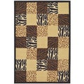 Multi-Color Contemporary Animal Patchwork Design Non-skid Area Rug (5'0 x 6'6)
