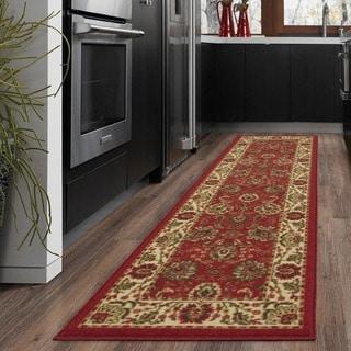 Dark Red Traditional Floral Design Non-skid Runner Rug (1'8 x 4'11)