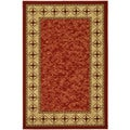 Contemporary Non-skid Dark Red/ Beige Border Rug (3'3 x 5')