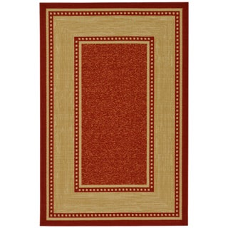 Contemporary Border Design Non-skid Dark Red Rug (3'3 x 5')