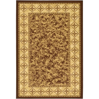 Contemporary Border Design Non-skid chocolate Rug (3'3 x 5')