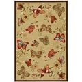 Beige Contemporary Butterflies Design Non-skid Area Rug (5' x 6'6)