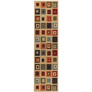 Beige Contemporary Boxes Design Non-skid Runner Rug (1'10 x 7')